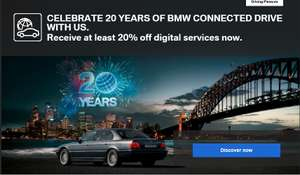 At least 20% discount on digital services at BMW ConnectedDrive store