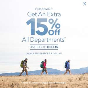 15% off All Departments with code @ Blacks
