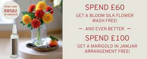 Spend £60 And Get A Bloom Silk Flower Wash Free/ Spend £100 And Get A Marigold Jamjar Arrangement For Free with Code @ Bloom