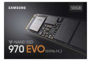 Samsung 970 Evo 500GB NVMe M.2 PCIe SSD £187.90 Dispatched & sold by Amazon