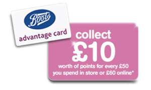 Collect £10 worth of points for every £50 spent (In-Store) or £60 (Online) @ Boots starts 18th May
