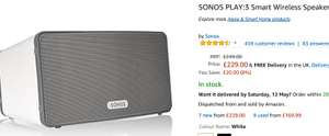 SONOS PLAY:3 Smart Wireless Speaker, White £229 @ Amazon