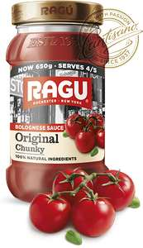 large 650g Ragu Original Chunky Bolognese / Pasta Sauces (Original chunky , Original smooth, Tomato & Basil, Chilli Chunky) - £1 @ ASDA