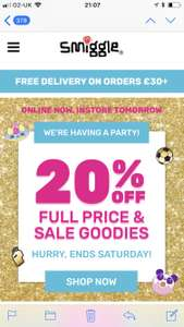 20% off Smiggle full price & sale - free delivery on orders over £30