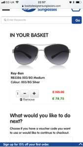 Boots have 25% off sunglasses with voucher: Aviator ray bans were £105 with voucher £78.75