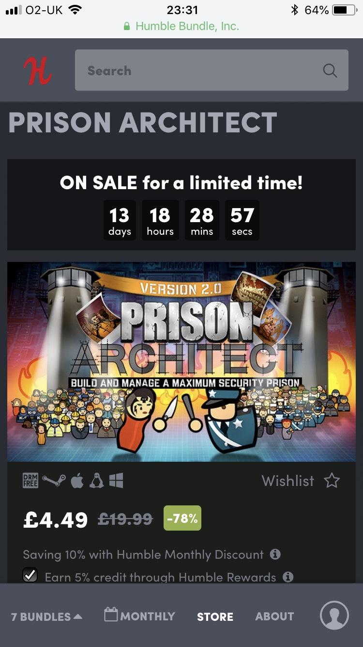 Prison Architect Steam via Humble Bundle £4.49