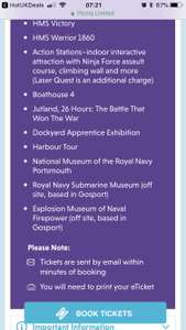 Various discounted tickets suits different needs -  Portsmouth Historic Dockyard Tickets -   Family (2+3)  £59.50 at picniq