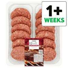 Tesco chilled 1/4 pound burgers 12 for a £5 instore / online