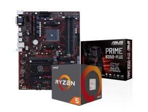 Asus B350 motherboard and Ryzen 5 1600 processor bundle - price reduced to £199.98 at eBuyer and free Saturday delivery