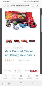Mack die cast carrier £20 down from £45 at Disney Store (£3.95 delivery or see instore)