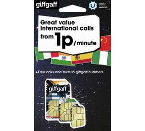Giffgaff Great International Calls from 1p per Minute no contract along with free calls and texts to giffgaff numbers @ Argos