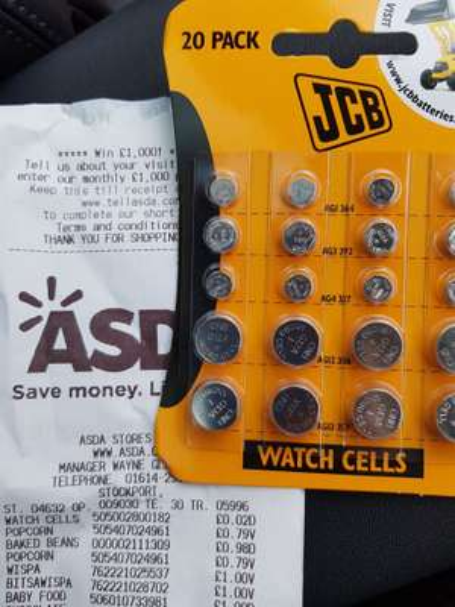 Asda stockport JCB watch batteries £4.50 scanning @ 0.02