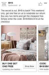 Buy One Get One Free at BHS.com