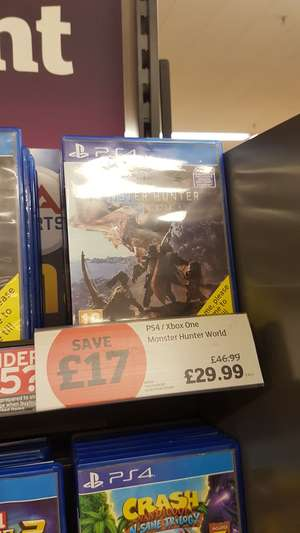 Monster Hunter World PS4 and Xbox One £29.99 instore @ Sainsbury's