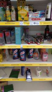 Tesco Metro Market St Manchester lots of cleaning products, pens, tea and other things half price in basement 50p