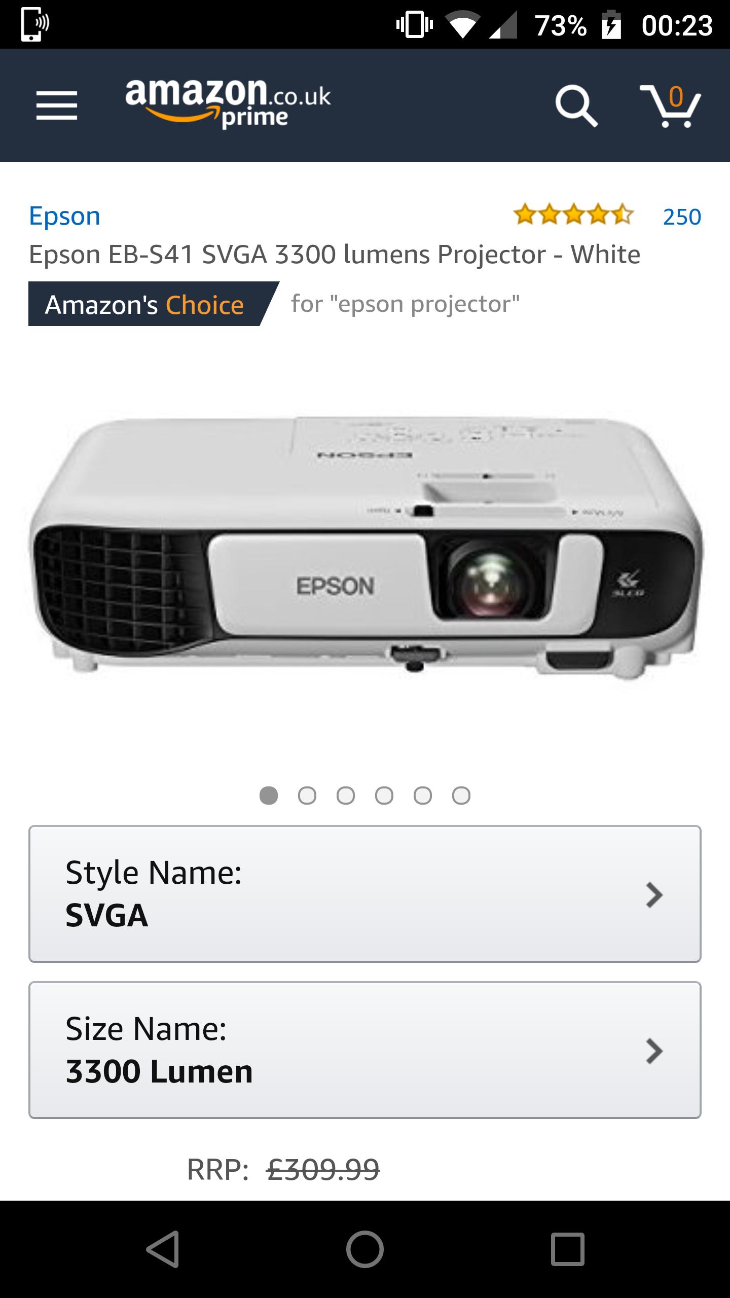Epson EB-S41 projector £209 @ Amazon
