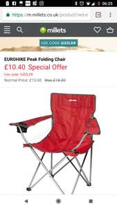 Camping chair offer + BOGOF at Millets £5.20 each (2 for £10.40)