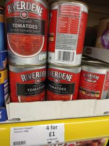 4 x Riverdene Chopped tomato 400g tins in rich tomato juice - £1 @ Heron Foods
