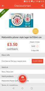 Malthsmiths lager 6x330ml can- £6 / £2.50 after Checkoutsmart cashback at Tesco