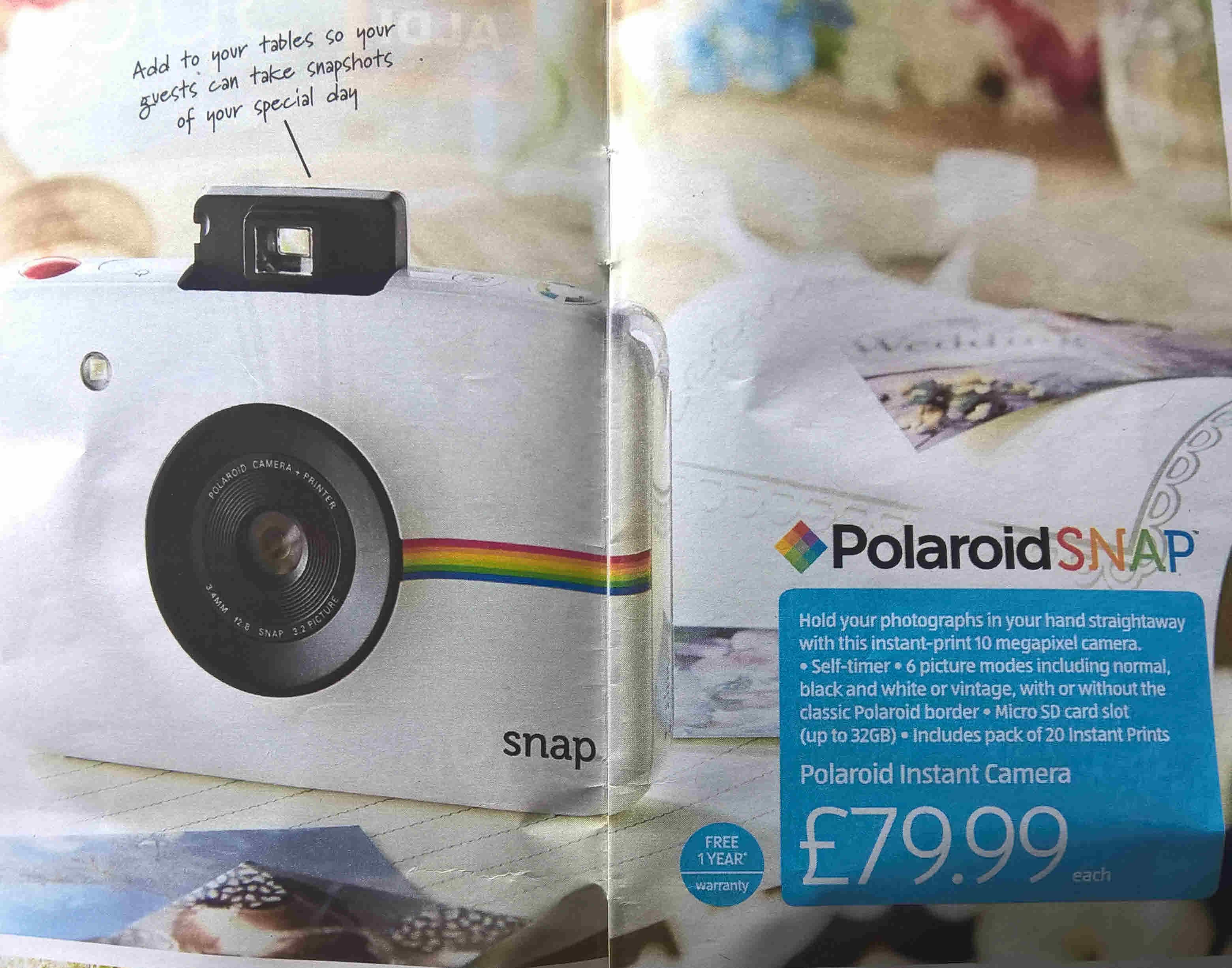 Polaroid Snap Instant Print Digital Camera @ Aldi - £79.99