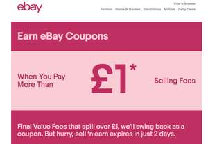 Earn ebay coupon for selling fee above £1