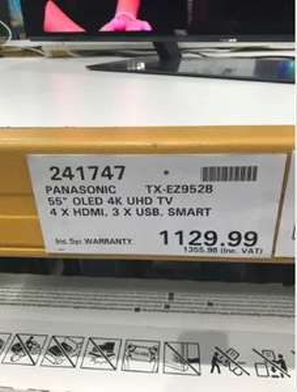 "Panasonic TX-55EZ952B 55"" OLED TV  £1355.98 with 5 year waranty instore at Costco Thurrock"