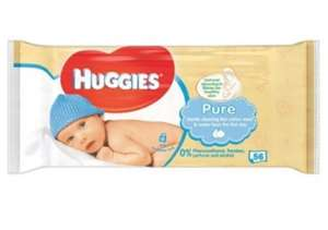 Huggies pure 56 baby wipes 20p with snap and save TOPCASHBACK @ poundland