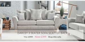 House of Fraser Darcey 3 Seater Sofa Scatter Back was £999 now £399. £458 delivered.