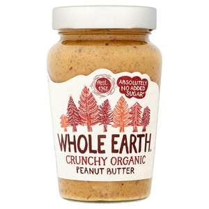 Whole Earth Peanut Butter Organic Smooth & Crunchy NAS or High Oleic 340g, Instore & Online £2 - Tesco