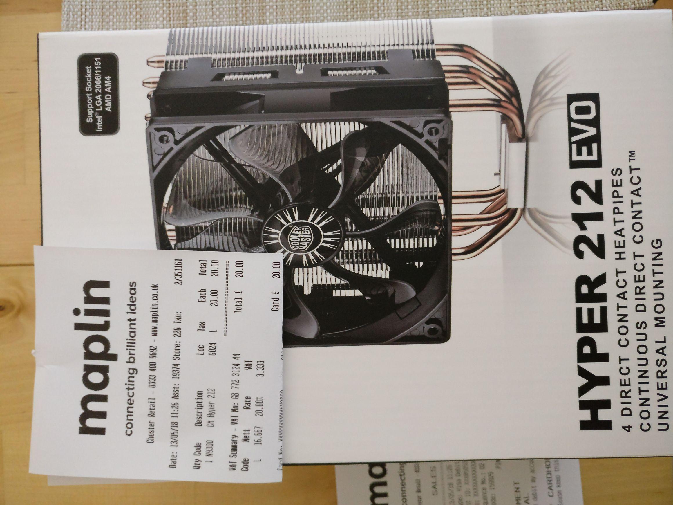 Hyper 212 EVO CPU cooler £20 instore @ Maplin Chester