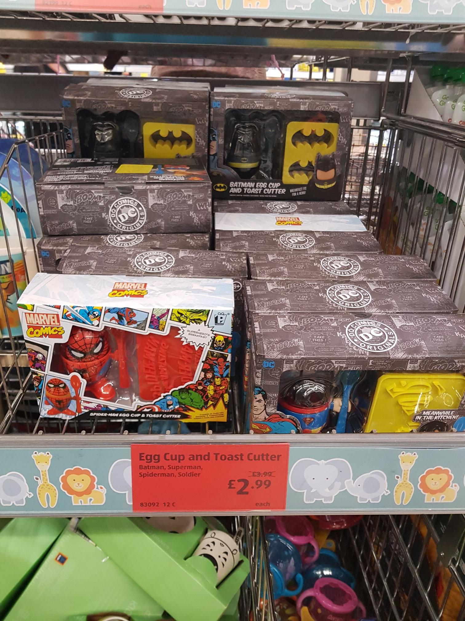 Aldi - DC & Marvel Comics - Egg Cup & Cutter - £2.99