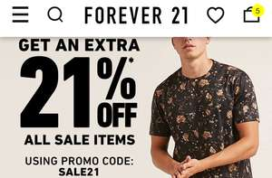EXTRA 21% off men/woman SALE items, free delivery TODAY ONLY on £21 spend @ Forever21