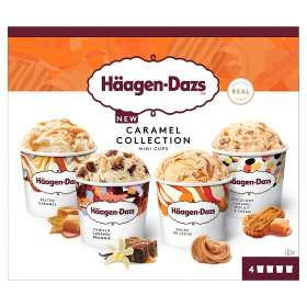 Häagen-Dazs Caramel Collection Mini Cups Ice Cream 4 x 100ml same price in ICELAND at Sainsbury's for £2.50 online and in store