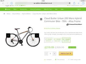 Claud Butler Urban 200 hybrid was £359.99 now £219.99 at e-bikesdirect