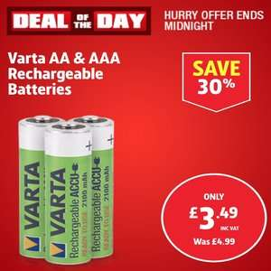 Varta Rechargeable Batteries AA or AAA pack of 4 £3.49 @ Screwfix