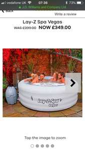 Lay z spa Vegas £282.70 delivered with code at  JD Williams