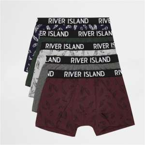 Red feather print trunks multi-pack (IN stock) for £10 free c&c @ River island