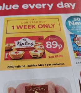 Mr kipling cherry bakewell x 6 one week 89p @ Iceland (starting on the 16th)