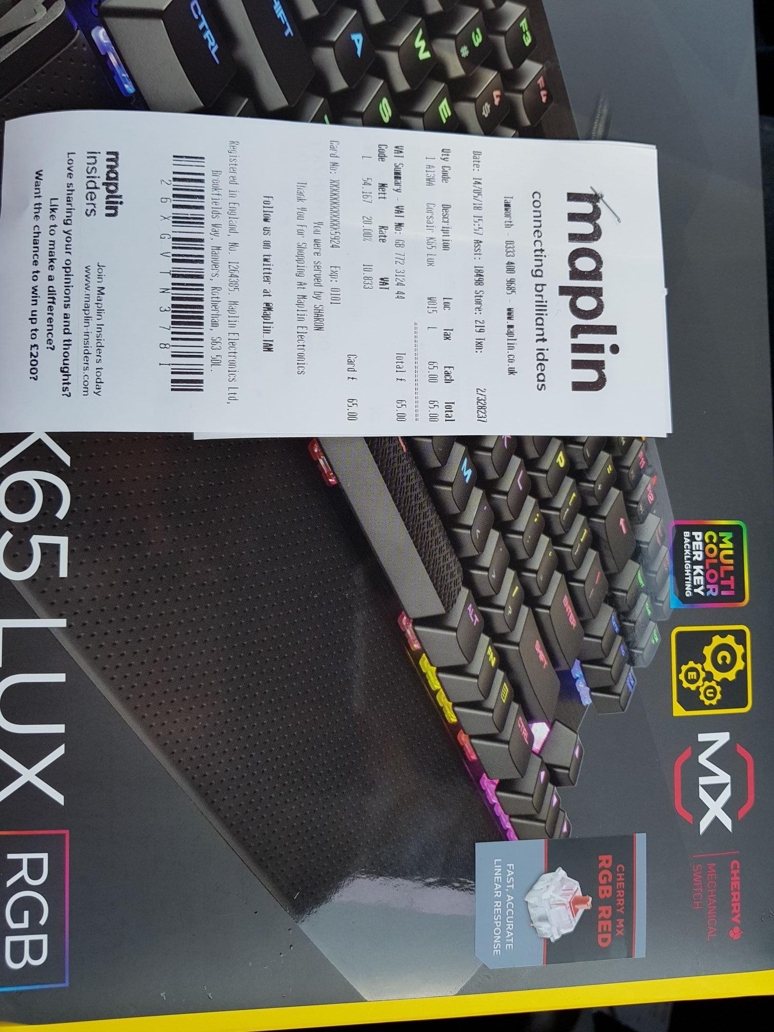Corsair K65 Lux Mechanical Keyboard £65 RRP £119.99 @ Maplin Tamworth