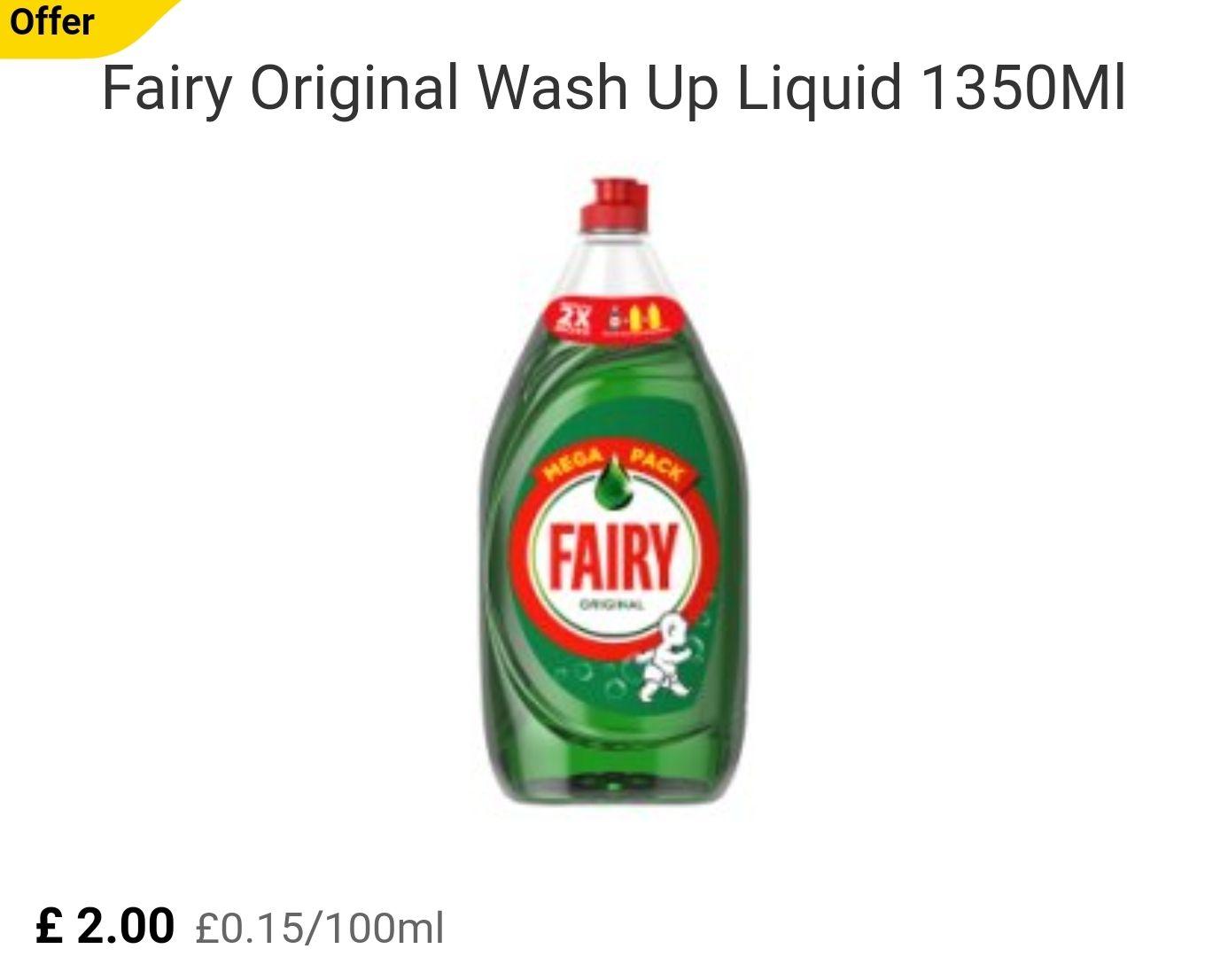 FAIRY ORIGINAL 1350ml £2.00 TESCO