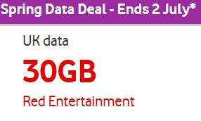 Red entertainment sim only 12 month 30gb data for £25 per month @ Vodafone