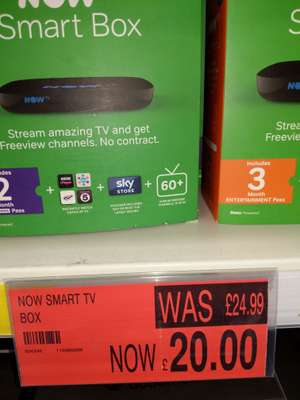 Now TV Smart Box £20 @ B&M - Includes 2 month cinema pass or 3 month entertainment pass