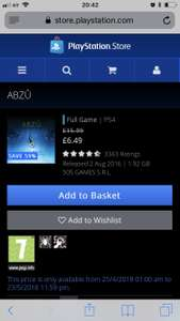 ABZU Game – £6.49 @ PSN