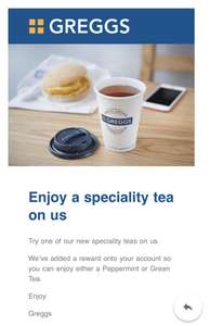 Free speciality tea at Greggs for Greggs Reward app users - Selected accounts
