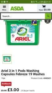 Ariel 3 in 1 Pods Washing Capsules Febreze 19 Washes £1 @ Asda