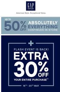 Gap outlet - EXTRA 30% OFF THIS WEEKEND (From 18/05)