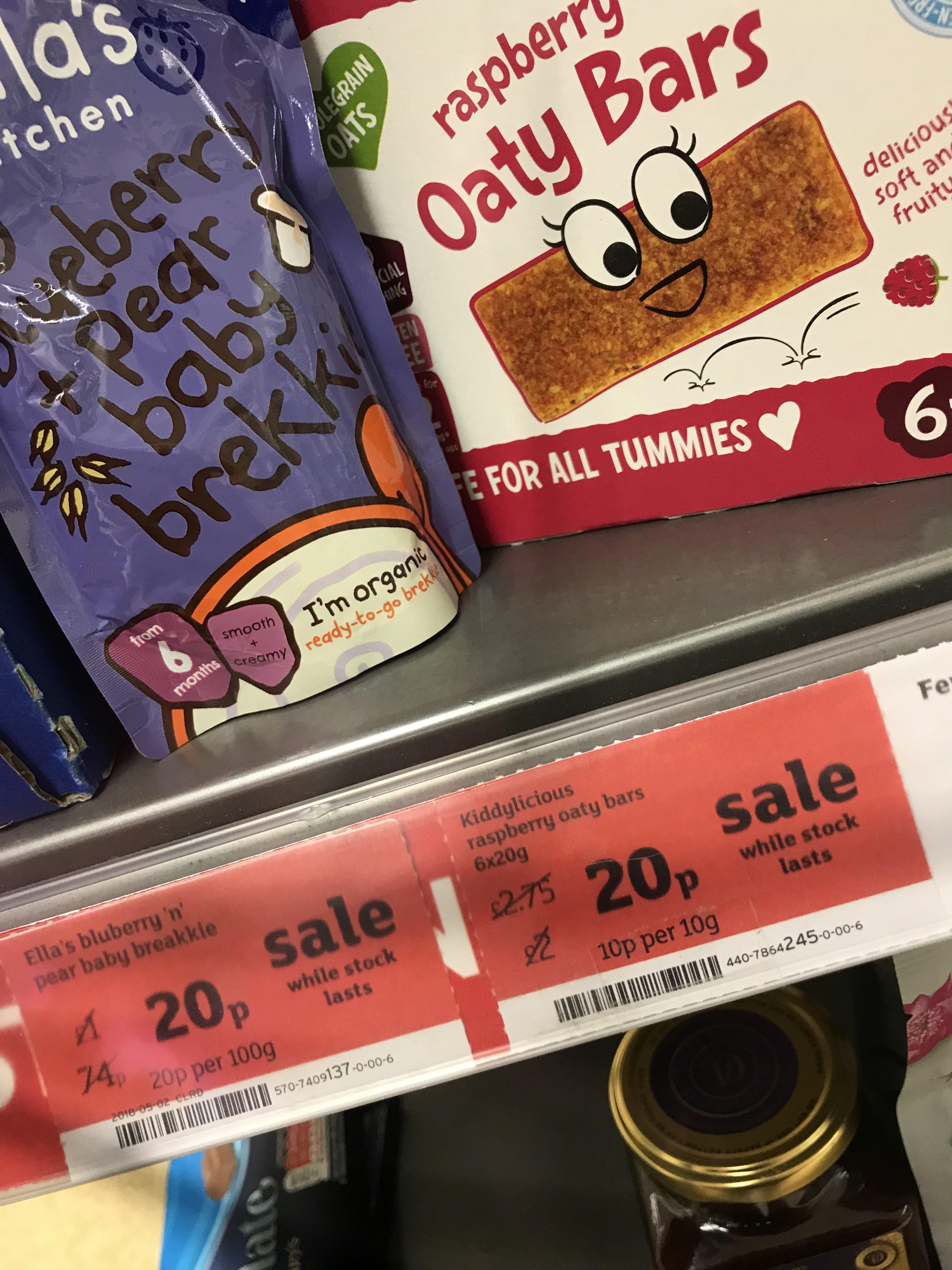 20p... Ella's kitchen brekki and kiddylicious bars at Sainsbury's instore