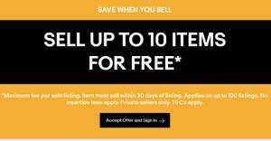 Sell up to 10 items for free on eBay  - valid from 16th-20th May (invite only)
