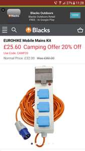 EUROHIKE Mobile Mains Kit   £25.60 at Blacks with code - £1 c&c