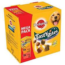 Pedigree Tasty Bites Dog Treats Chewy Cubes Mega Pack  5 x 130g £1.13 Asda Instore